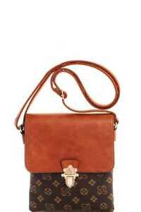 New-Brown-Modern-Pattern-Crossbody-Messenger-Bag