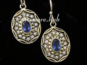 CE042-EXQUISITE-9ct-Yellow-Gold-NATURAL-Sapphire-amp-Pearl-Oval-Drop-Earrings