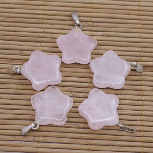 Lot  5 PCS Natural Rose Quartz Star Pendant 20mm  Jewelry