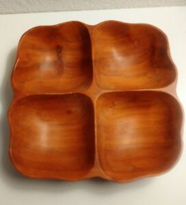 Vintage-Kamani-Wood-Hand-Carved-4-Section-Bowl-Made-in-Hawaii