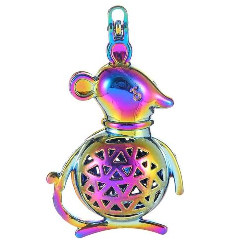 2Pcs Mouse Buckle Pendant Rainbow Color Magnetic Pearl Beads Cage Jewrlry Making