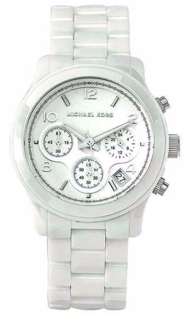 Michael Kors Runway White Ceramic Chronograph 38mm Women's Wrist Watch MK5161