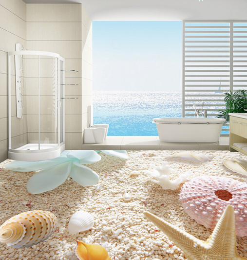 3D Petals Shell Beach 78 Floor WallPaper Murals Wall Print Decal AJ WALLPAPER US