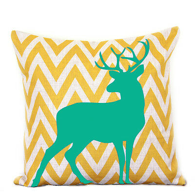 Yellow Chevron Aqua Deer Print Stripes Cotton Linen Pillow Cushion Cover 45cm