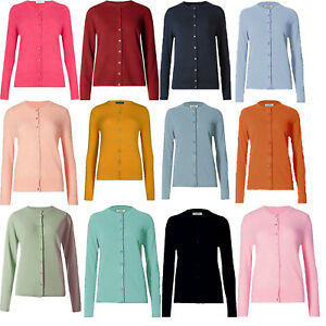 ex-M-amp-S-Cardigan-Classic-Collection-Ladies-Womens-Ribbed-Round-Neck