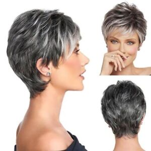 Details About Short Pixie Cut Ombre Silver Grey Wigs Natural Gray Hair Straight Full Wig