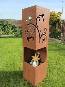 Feuer-Saeule-Rost-Edelrost-Deko-Gartendeko-rostig-Fackel-Windlicht-Garten-Stele