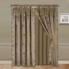 4PC NADA TAUPE ROD POCKET FAUX SILK PANEL SHEER VALANCE TASSEL WINDOW CURTAIN