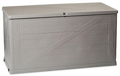 """Cassapanca baule contenitore /""""Wood/"""" in resina 120X57XH63 baule box porta oggetti"""