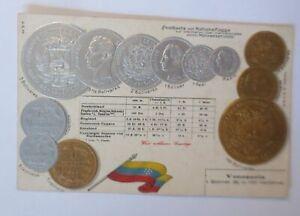Coins-Venezuela-1900-Embossed-Postcard-66731