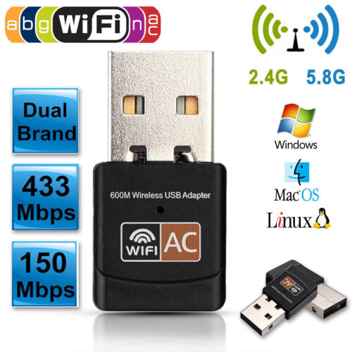 600Mbps Dual Band 2.4GHz 5GHz WiFi Adapter Wireless 802.11ac//a//b//g//n Mini Dongle