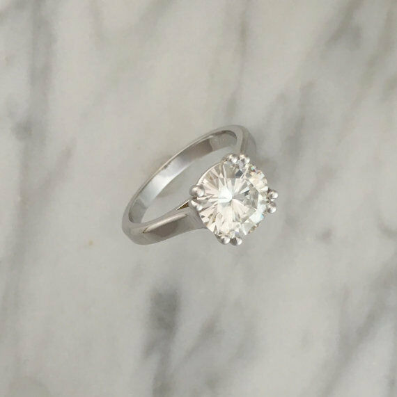 2.00 Ct Round Solitaire Diamond Engagement Ring 18K Real White gold Rings Size 7