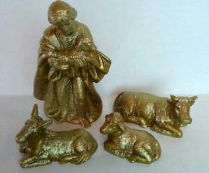 David-and-Animal-Nativity-Pieces-Metallic-Gold-Ceramic-Figures-Bethlehem