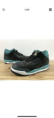 Nike Air Jordan 3 Retro GG 4Y-7Y Multi Size Black Gold Rio Teal Shoes 441140-018