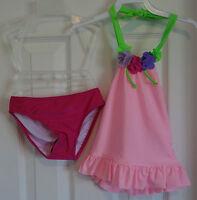 Love U Lots Flower Neck Pink Bathing Suit Girl's Sz 3t
