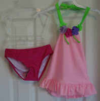 With Tags Love U Lots Flower Neck Pink Bathing Suit Girl's 2t