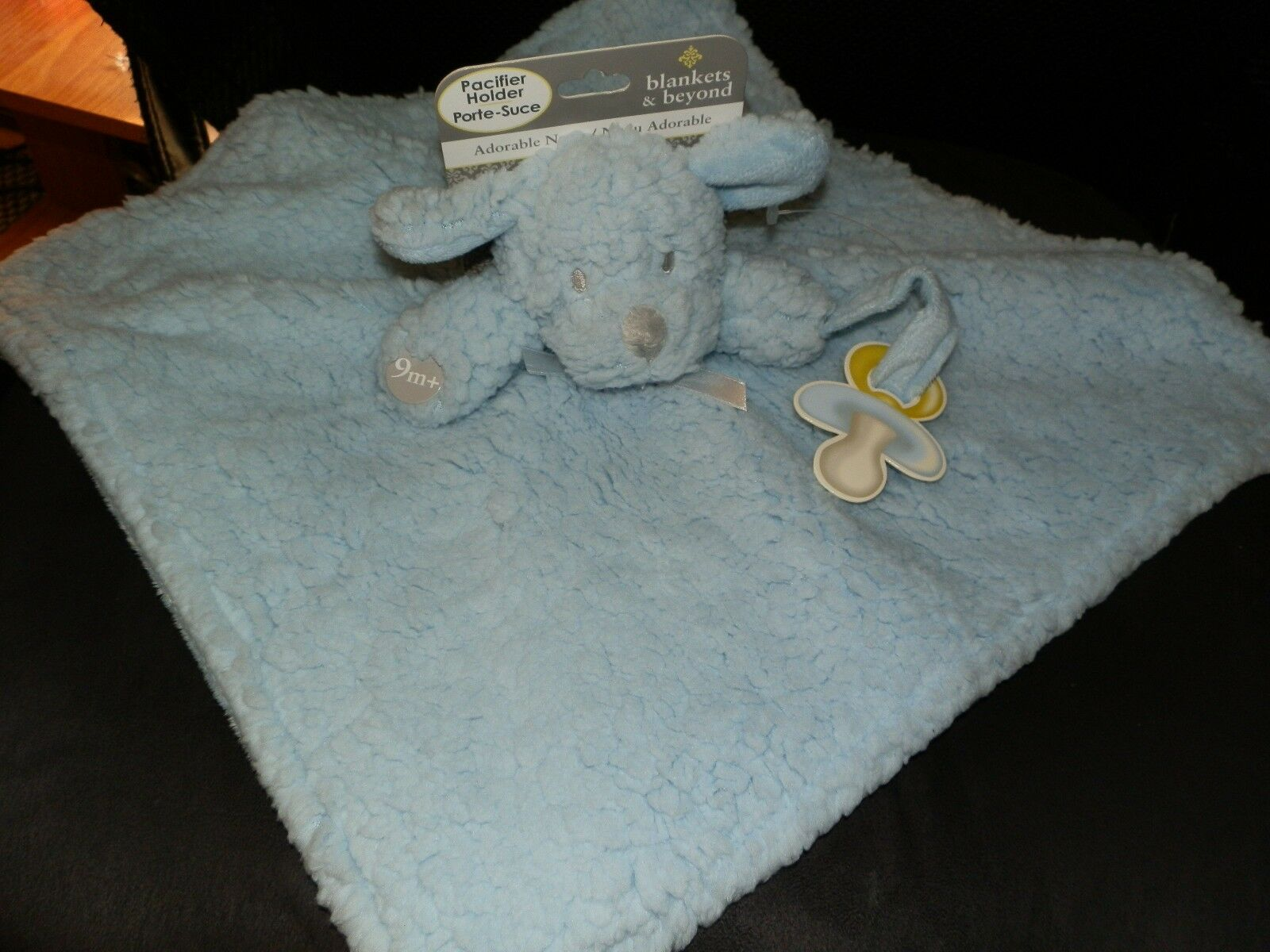 SECURITY BLANKET BEYOND PUPPY DOG BLUE SHERPA STROLLER TIES PACI HOLDER SQUARE