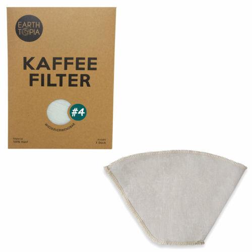 Kaffeefilter Stoff Mehrweg Dauer Permanent Filter Gr 2 /& 4 EARTHTOPIA 3 Stk