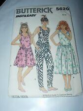 Very Easy OOP BUTTERICK 3920 Girls Dress /& Jumpsuit PATTERN 7-8-10//12-14 UC