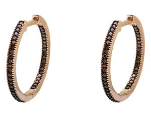 Fine Jewelry 10k Rose Gold Mil-grain Inside-out 1/4ct Fine Earrings Genuine Red Diamond Hoop Earrings Wide Selection;