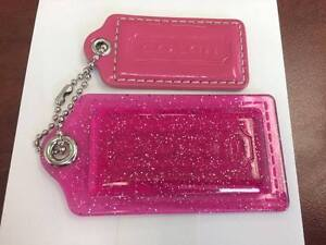 2-Coach-Replacement-Pink-Hangtag-Keychain-Fob-Clear-Sparkle-Pink-amp-Pink-Leather