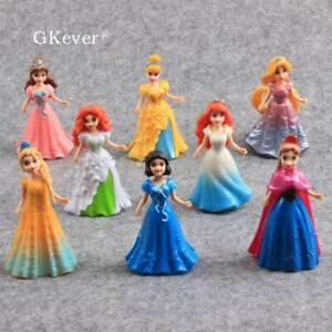 8x DISNEY PRINCESS SNOW WHITE Ariel Cinderella belle action figure DECORAZIONI PER TORTA