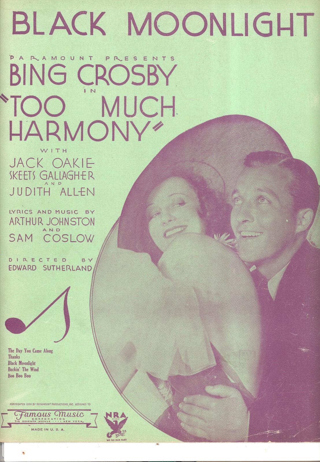 Too Much Harmonie Notenblatt   Schwarz Moonlight   Bing Crosby Judith Allen