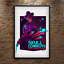 Western Cowboy Skull Poster Space Retro Futurism Print 18x24in Psychedelic Color