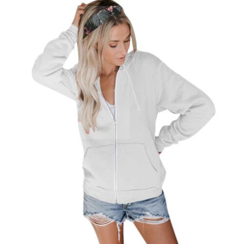 Women Lady Comfy Plain Zip Up Hoodie Jumper Sweatshirt Fleece Jacket Hooded Tops