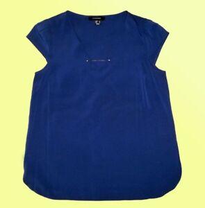 moderne-blaue-Bluse-Tunika-mit-Dekokettchen-knitterfrei-Gr-40-M