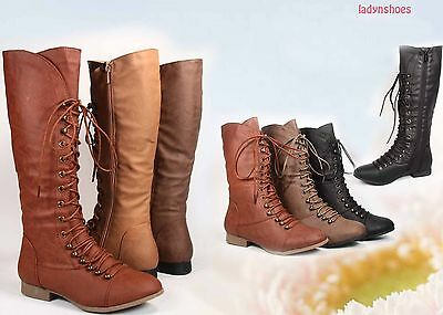 NEW Womens  Zipper Round Toe Military Lace Up Mid-Calf  Knee High Boot All Size