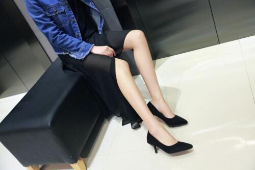 Stylish Womens OL Point Slip On Mid Kitten Heel Court Work Office Pumps Shoe New