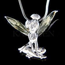 w Swarovski Crystal Gray Tinkerbell Tinker Bell Fairy ANGEL Pendant Necklace New