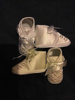 Bautizo del bebé Bebés Botas Zapato Marfil cintas de satén blanco 1-3 3-6 6-12 meses