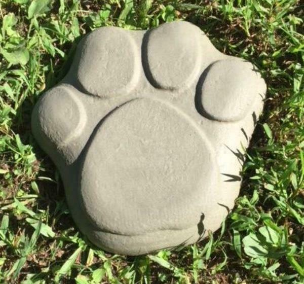 "Dog paw print stepping stone mold 12/"" x 12/"" x 2/"" plaster concrete plastic mould"