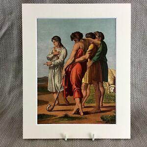 1860 Antico Cromolitografia Giuseppe Sogno Religioso Bibbia Stampa