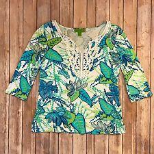 Island Republic Women's 3/4 Sleeve Floral Blue Green V Neck Shirt Small Preppy