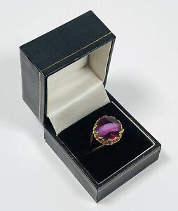 Vintage Ring Gold Tone Purple Tiger's Eye Glass Adjustable Pretty Kitsch Costume