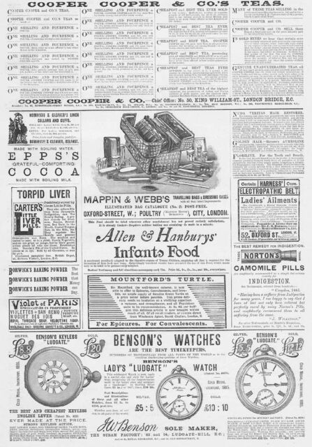 Victorian Adverts; Bags, Watches, Liver Pills, Camomile etc - Antique Print 1888