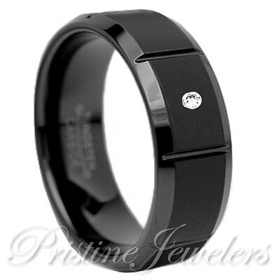 Black Tungsten CZ Comfort Band Wedding Engagement Mens Jewelry Promise Ring 8-13