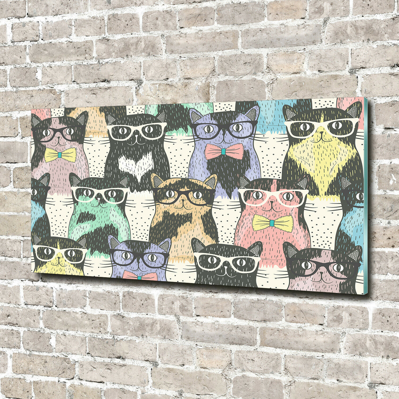 Acrylglas-Bild Wandbilder Druck 140x70 Deko Tiere Katzen mit Brille