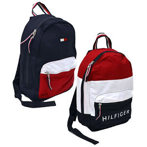 Tommy Hilfiger Backpack Canvas Small Book Bag 2 Pocket School Travel ... 66135881e88e6