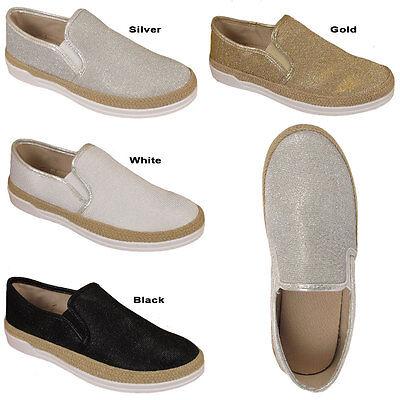 Para Mujer Damas Zapatos Planos Alpargatas Slip On Hesse Bombas Brillo formadores Zapato