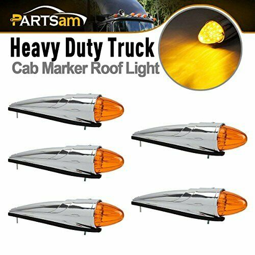 Bright & Waterproof Roof Cab Lights w  Amber LED for Trucks & Trailers (5ct)