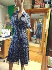 Coldwater Creek Size 16 100% Silk Blue Flower Day Dress
