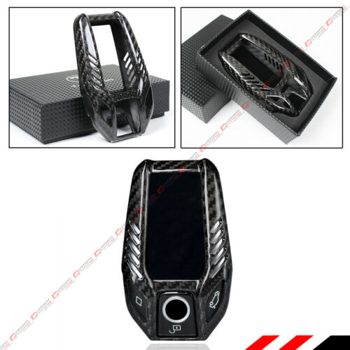 LUXURY BLACK CARBON FIBER CASE COVER FOR 2017-19 BMW TOUCHSCREEN DISPLAY KEY FOB