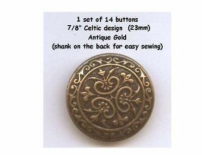 """30 Metal 5//8/"""" Shank Buttons Gold Brass Antique 15mm School Plays vest Buttons"""