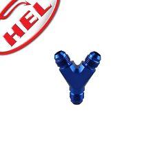 HEL PERFORMANCE Y Piece Male Fitting Aluminium -6 AN JIC BLUE
