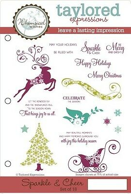 TAYLORED EXPRESSIONS SPARKLE & CHEER STAMPS  (SET OF 18)  TEFS74   NIP