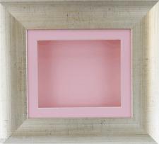 Antique Silver Deep Box Display frame Medals 3D 2D Items Art Baby Girl Cast Pink